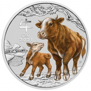 Lunar Series: Year of the Ox 2021 + kolor, 1oz - rewers