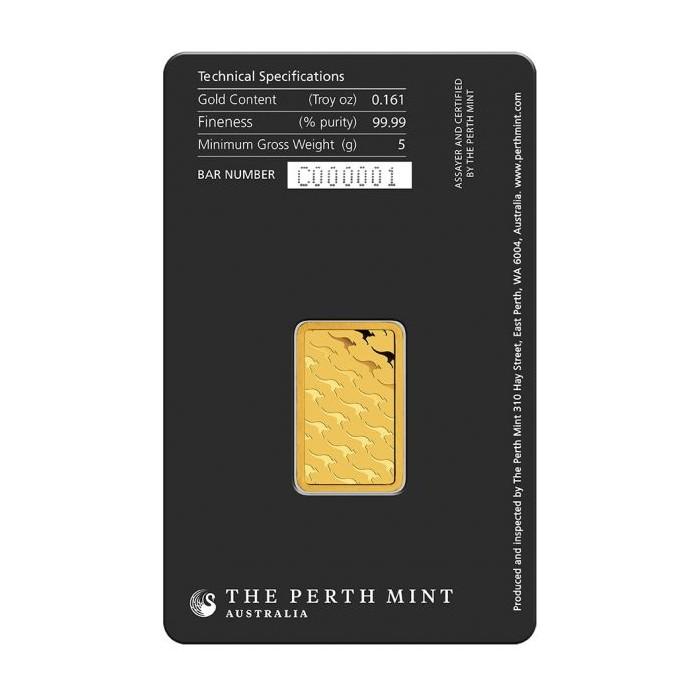 Złota sztabka Inwestycyjna Perth Mint 5g - tył