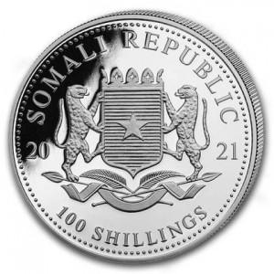 Somalijski Słoń 2021, 1 oz - rewers
