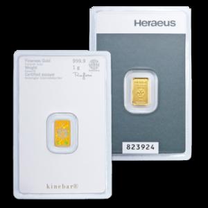 Heraeus Kinebar - złota sztabka 1g - back
