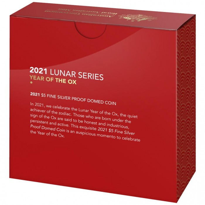Lunar Ox 2021, 1oz (proof) - box, back