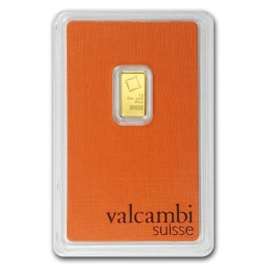 Złota sztabka Inwestycyjna Valcambi 1g - front