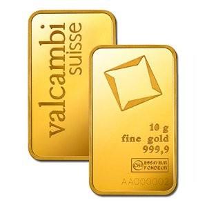 Złota sztabka Inwestycyjna Valcambi 10g - certipack