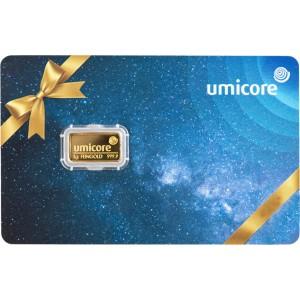 Złota sztabka Inwestycyjna Umicore-Giftcard 1g - front