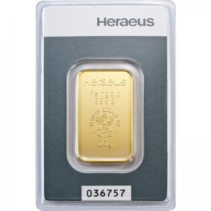 Złota sztabka Inwestycyjna Heraeus 20g