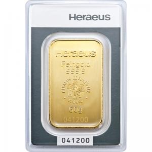 Złota sztabka Inwestycyjna Heraeus 50g