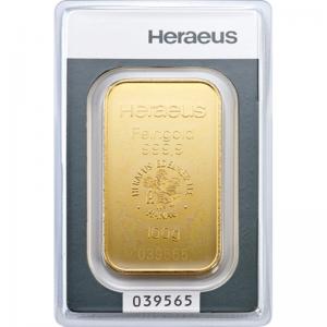 Złota sztabka Inwestycyjna Heraeus 100g