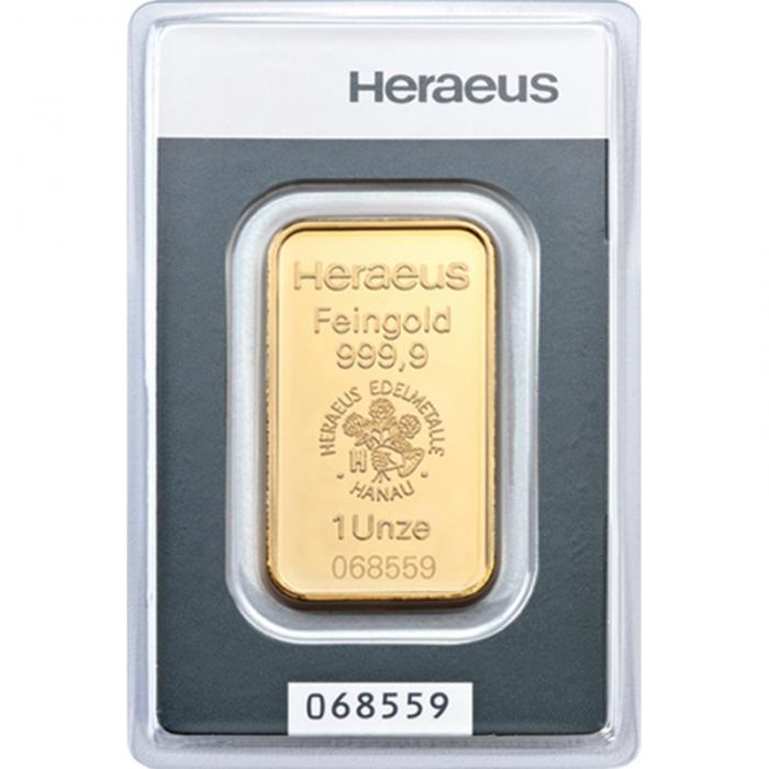 Złota sztabka Inwestycyjna Heraeus 1oz